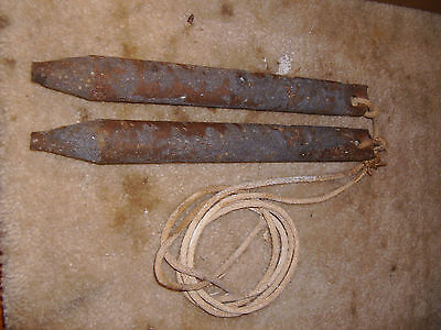 2 Old CAST IRON Antique WINDOW SASH WEIGHTs 6 lb ROMAN NUMBERS VI Vintage Lot