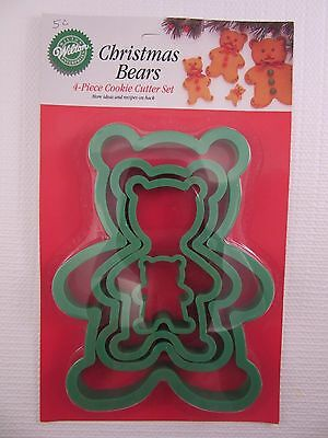 WILTON Christmas Bears Set of 4 graduated Cookie Cutters 2304-1532 (1991)