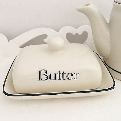 Vintage Style Cream Butter Dish With Lid Kitchen Serving Bowl Dining Gift Boxed
