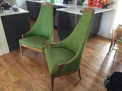 Vtg Mid Century Modern Walnut High Back Lounge Arm Chairs Danish Pearsall Style