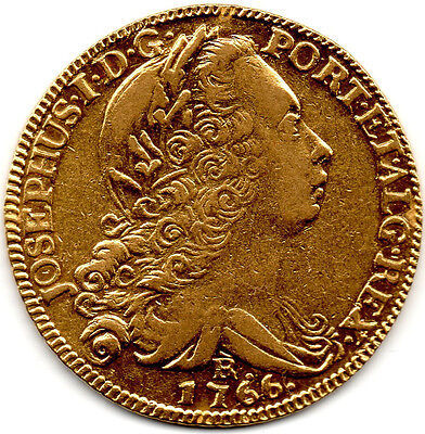 1766 (R) PORTUGAL Large SOLID GOLD 6400 Reis Coin PRICED TO SELL