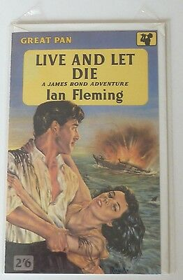 JAMES BOND 007 new greetings card based on 1950s PAN Books LIVE AND LET DIE