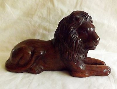 "Original Hand Carved Wood 10 1/2"" Male Lion Signed Charles Fields"