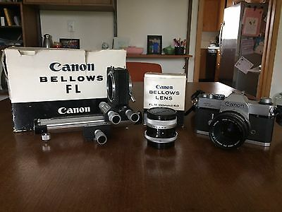 Canon Bellows FL,  Canon FL M 100 / 4 bellows lens,  Canon TLb body lot