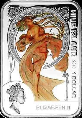 Niue 1 $ 2010 Alfons Mucha painter Silver Coloured