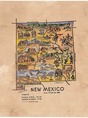 155 Kid's map of New Mexico Vintage historic antique map painting poster print