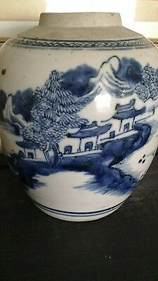 ANTIQUE VINTAGE CHINESE BLUE & WHITE PORCELAIN GINGER POT 19th CENTURY