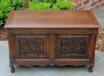 Antique French Country Oak Louis XV Style Chest Trunk Blanket Box Coffee Table