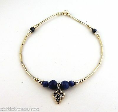 Silver Irish Celtic Trinity Knot Anklet with Genuine Sodalite Gemstones