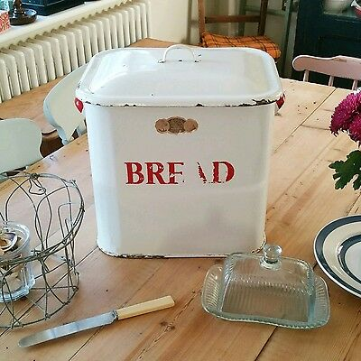 Old enamel bread bin, enamelware, kitchenalia, rustic kitchen, vintage kitchen​