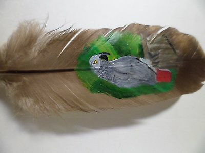 AFRICAN GRAY PARROT- Hand painted rare turkey feather, by artist W. W. Hoffert