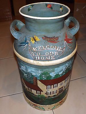 Vintage Hand-Painted 10-Gallon Milk Can, Authentic, Unique, Heavy & Beautiful!