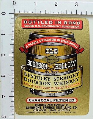 1950's-60's Vintage Old Bourbon Hollow 100 Proof Whiskey Sample Label Bottle