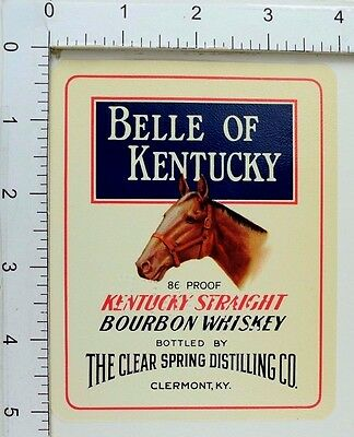 1950's-60's Vintage Belle Of Kentucky Bourbon Whiskey Sample Label Bottle