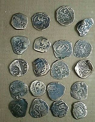 Lot of 20 Authentic 17th Century Spanish Cob Coins