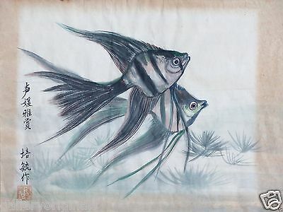 Mid Century Asian Oriental 2 Fishes Vintage-Antique Painting Signed Red Stamp