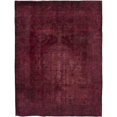 """Lovable Vintage Persian Overdyed Burgundy Rug- 7'10"""" x 10'3"""""""