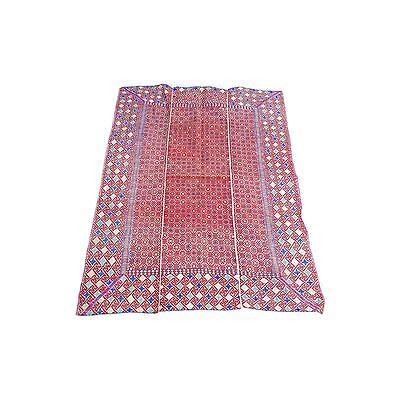 Lovable Hill Tribe Hand Embridered Silk Rug - 3′6″ × 5′2″