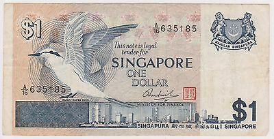 (NI-322) 1987 Singapore $1.00  bank note (A)