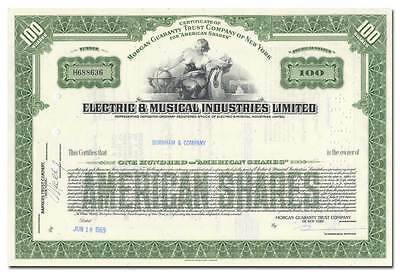 Electric & Musical Industries Ltd. Stock Certificate (EMI, Early Beatles Label)