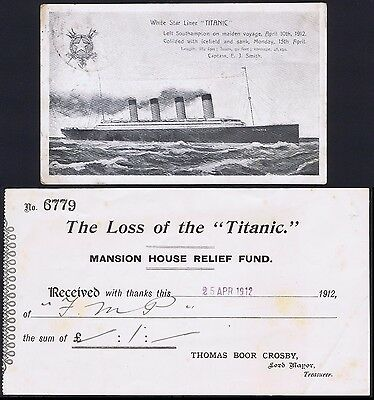 1912 Titanic Postcard and Mansion House Relief Fund Receipt 25 April 1912