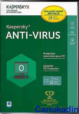 Kaspersky Anti-Virus 2017 - 2018 18 Months - 3 PC's