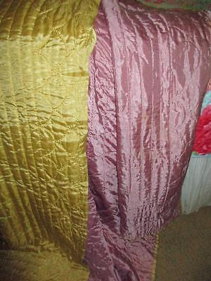Yellow Gold & Lavender Vintage Hollywood Glam Satin Taffeta Quilt Throw Blanket