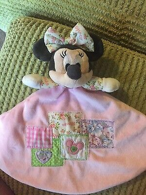 Disney Minnie Mouse Pink Patchwork Girls Comforter Soother Blankie Hug Toy