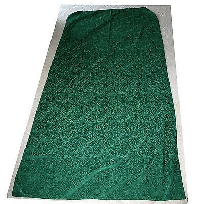 Large, Green, Poinsetta Design, Rectangle Fabric, Christmas Tablecloth, 117 X 57