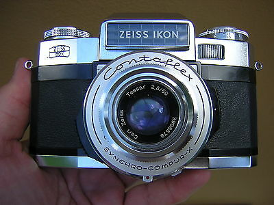 Carl Zeiss Contaflex Super Camera with Case, Instructions + 2 Extra Lenses