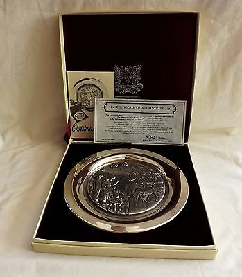 Wittnauer Mint Sterling Silver 1973 Christmas Winter Holiday Plate Orig Box