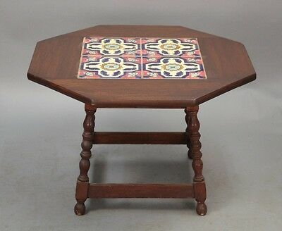 1920s Antique Wood Side Table w Vintage California Tiles Spanish Revival (10353)