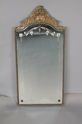 1920s Antique Arched Top Mirror w Etched Glass Antique Tudor Spanish (10348)