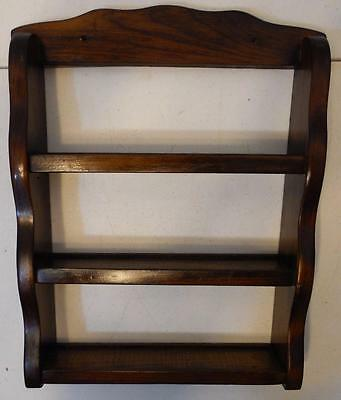 Vintage Small Stained Wood 3 Tier Wall Mount Spice Rack Or Shelf