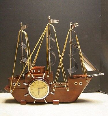 Vintage 'united Self Starting' Electric Mantel Boat Clock Model No. 811
