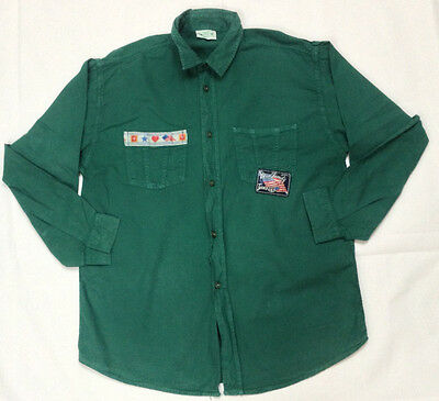 Benetton shirt kids L large green smart casual retro vintage O12 blue family