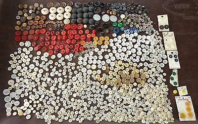 Big Mixed Lot Old Vintage Buttons Metal Wood Pearl Chunky Thick Plastic Italy Qt