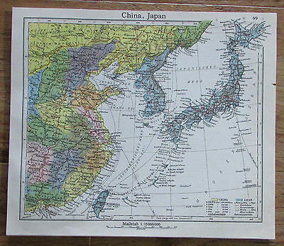 China Japan - alte Karte Landkarte aus 1922 old map