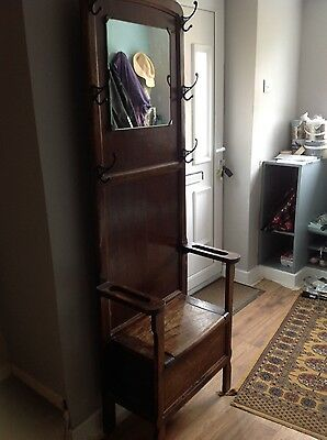 Vintage dark wood Hall stand with mirror and shoe store