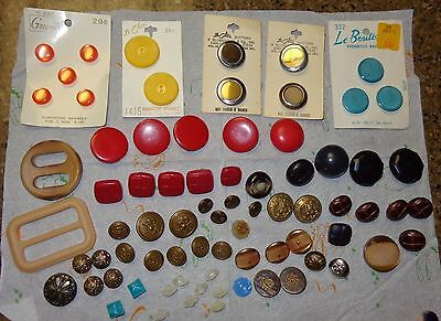 Mixed Lot Old Vintage Buttons & Buckles Metal Plastic Some On Cards