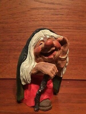 Vintage Henning Norway Carved Wooden Troll Gypsy Woman