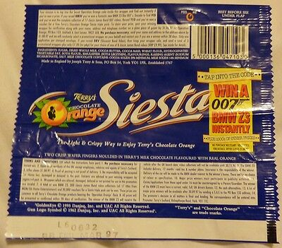 Goldeneye JAMES BOND 007 Promotional Chocolate Orange Siesta wrapper BROSNAN