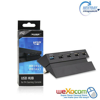 DOBE 2 to 5 USB Hub / Extender for PS4 Gaming Console (Black)