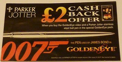 Parker Jotter GOLDENEYE Promo leaflet £2 Cash Back Offer JAMES BOND 007 Brosnan