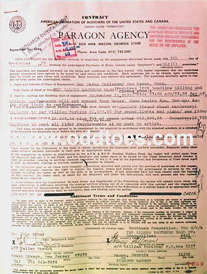 Gregg Allman signed The Allman Brothers Band Concert Contract 1975 New Haven