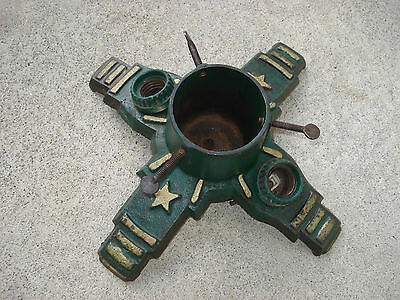 True Vintage CAST IRON CHRISTMAS Tree Stand Lighted Stars Stripes Green Gold Old