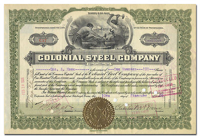 Colonial Steel Company Stock Certificate (Pittsburgh, Pennsylvania)