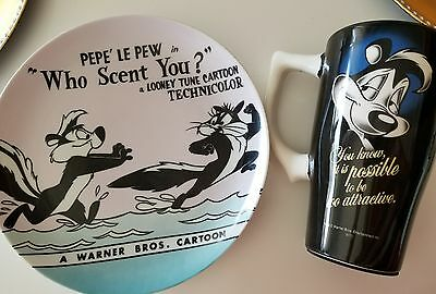 Pepe Le Pew Mug + 1994 Warner Bros Looney Tunes Collector Plate 'Who Scent You?