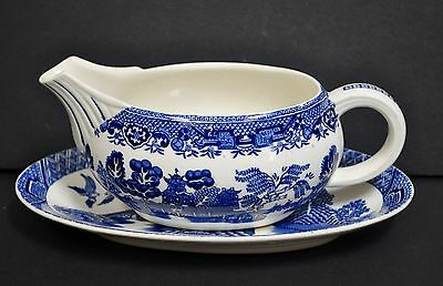 Vintage Woods & Sons Blue Willow Gravy Boat and Underplate Made in England