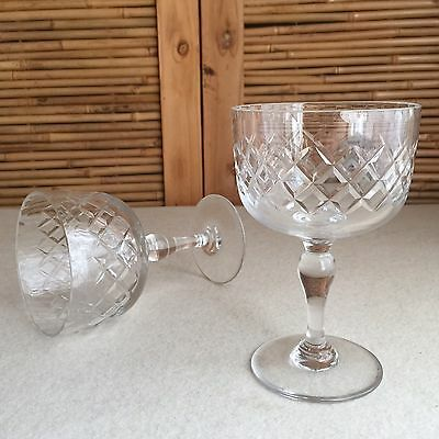 2X Vintage HIGH Qualiy LEAD Crystal DIAMOND Cut GLASSES Cordial WINE Champagne